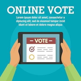 Votación en línea en la plantilla de la tableta, estilo plano