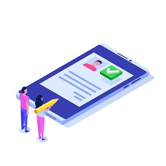Votación en línea, votación electrónica, concepto isométrico del sistema de internet electoral.