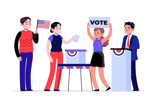 Votantes de pie escenas de campaña electoral.