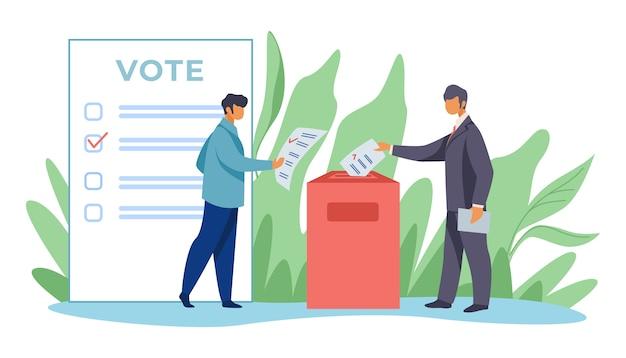 Votantes que insertan formularios en las urnas