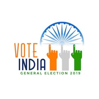 Votar las elecciones generales de la india con la mano del dedo