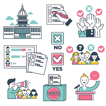 Votar y votar las personas la gente vector iconos