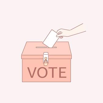 Vote su boleto en una urna con estilo de arte lineal