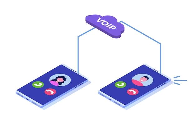 Voz sobre ip, concepto isométrico de tecnología voip de telefonía ip.