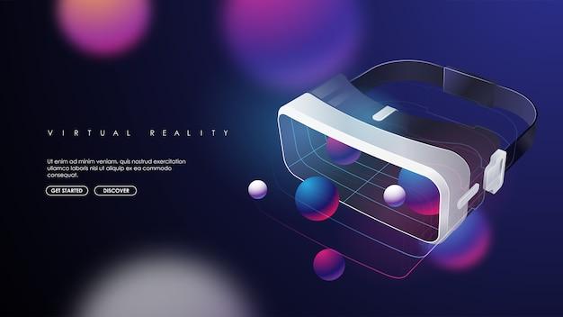 Vr juego casco futurista y auriculares de aumento de gafas digitales. plantilla moderna para web e impresión. concepto de realidad cruzada.