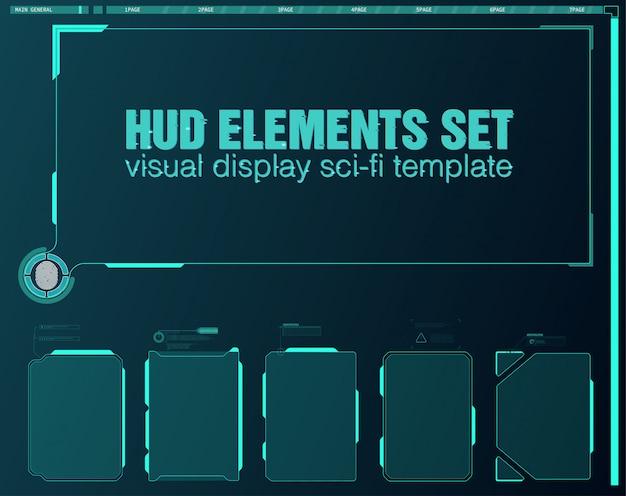 Vr realidad en estilo moderno. realidad virtual. tecnología moderna. pantalla de interfaz futurista de hud. hud ui gui conjunto de elementos de pantalla de interfaz de usuario futurista. pantalla de alta tecnología para videojuegos