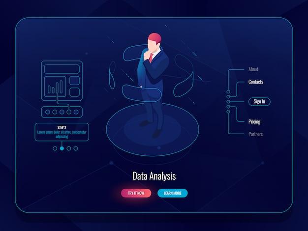 Vr realidad virtual isométrica, el hombre permanece en la plataforma y elige opciones, concepto de análisis de datos