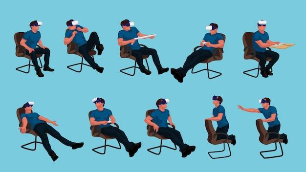 Vr sentado hombre set