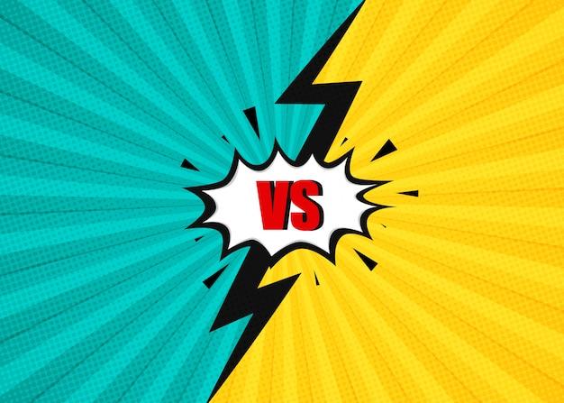 Vs batalla cómica lucha de fondo azul y amarillo con un rayo.