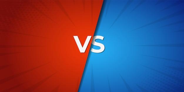 Vs versus fondo rojo y azul de batalla