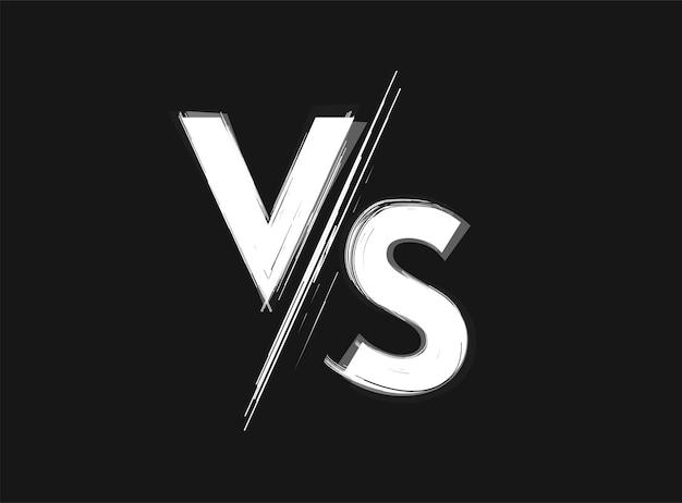 Vs versus icono de grunge en blanco y negro