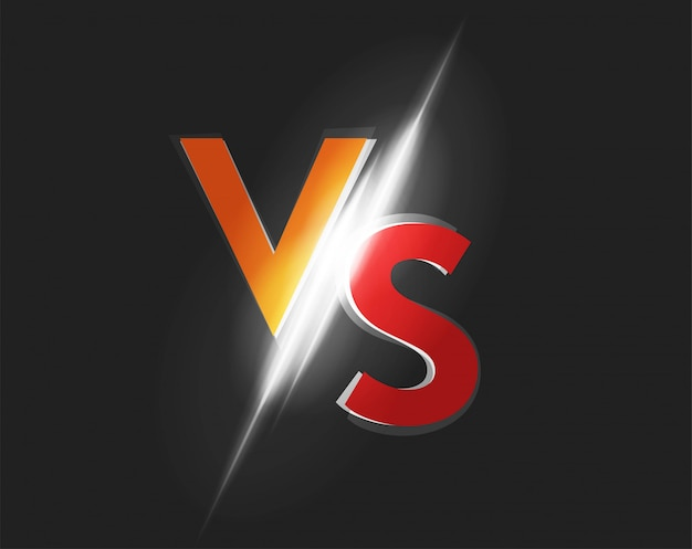 Vs versus logo vector icono para la ilustración del juego de lucha de batalla sobre fondo oscuro