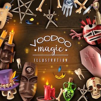 Vudú culto misterio objetos mágicos atributos realista marco de mesa de madera oscura con calavera a la luz de las velas muñeca alfileres ilustración vectorial