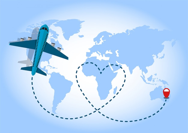 Vuelo del aeroplano en fondo azul del mapa del mundo. concepto de amor que viaja.