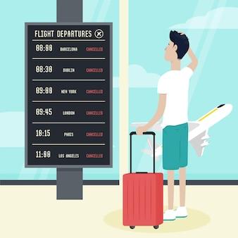 Vuelo cancelado con hombre en el aeropuerto