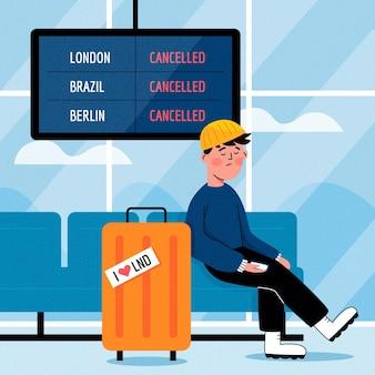 Vuelo cancelado con hombre y equipaje