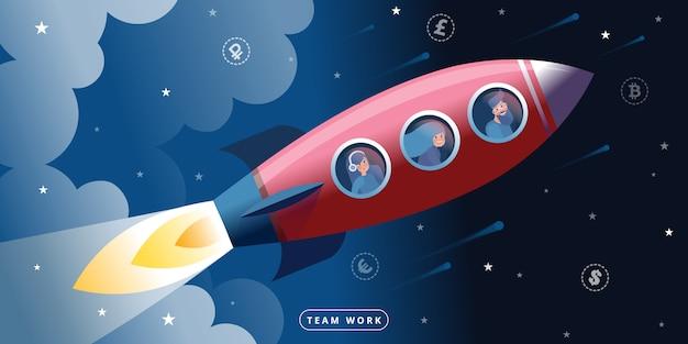 Vuelo en cohete espacial como metáfora de trabajo en equipo y colaboración.