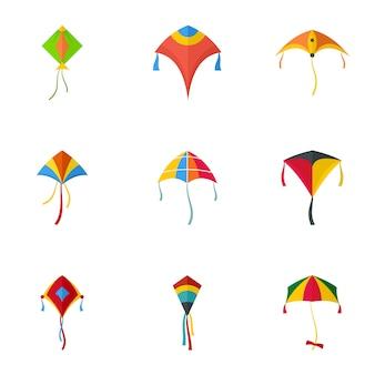 Vuelo conjunto de iconos de cometa. conjunto plano de 9 iconos de cometas volando