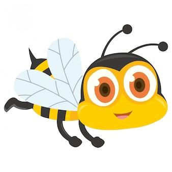 Vuelo lindo de la abeja aislado en el fondo blanco