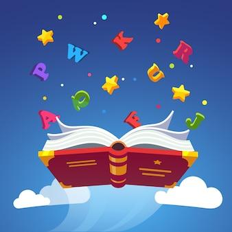 Vuelo mágico del libro que dispersa letras del alfabeto