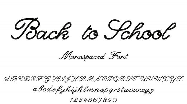 De vuelta a la escuela. alfabeto de vectores fuente caligráfica.