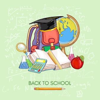 De vuelta a la escuela. educación asignaturas escolares conocimiento de libro abierto