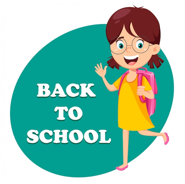 De vuelta a la escuela. hermosa chica con mochila