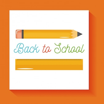 De vuelta a la escuela. lápiz escolar y suministros de regla aislados