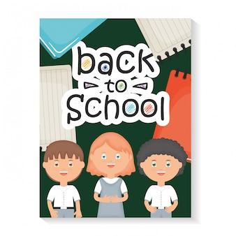 De vuelta a la escuela. lindos estudiantes pequeños con mensaje de regreso a la escuela