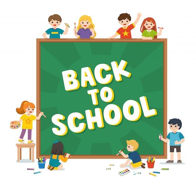 De vuelta a la escuela. niños felices de la escuela con pizarra con escritura de regreso a la escuela. plantilla para folleto publicitario. los niños miran con interés. ilustración.