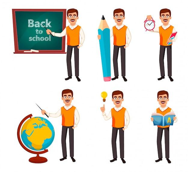 De vuelta a la escuela. personaje de dibujos animados hombre maestro