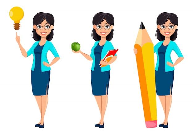 De vuelta a la escuela. personaje de dibujos animados de mujer maestra