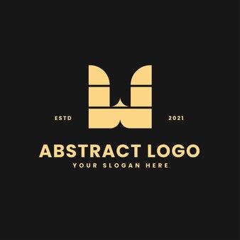 W, letra, lujoso, oro, geométrico, bloque, concepto, logotipo, vector, icono, ilustración