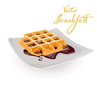 Waffle belga fresco caliente con cobertura de chocolate en la placa