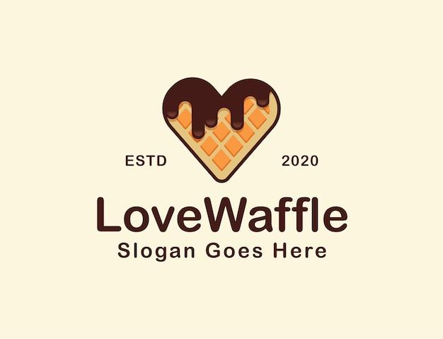 Waffle con logo de dibujos animados de forma de amor