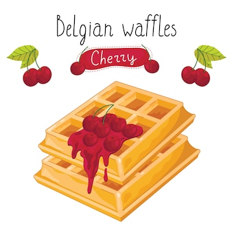 Waffles belgas con mermelada sobre fondo blanco.