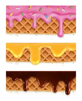 Waffles de chocolate, miel, glaseado, patrones horizontales sin costura