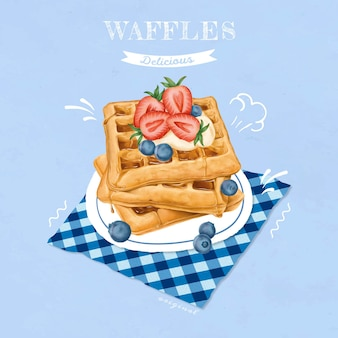 Waffles dulces dibujados a mano
