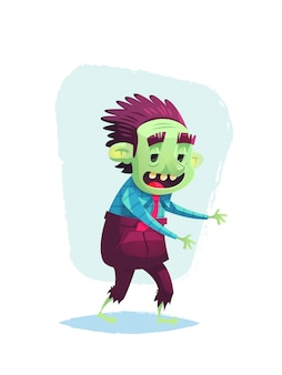 Walking zombie character cartoon halloween illustration