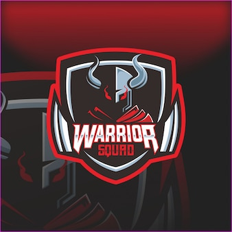 Warrior squad helmet esport mascot logotipo