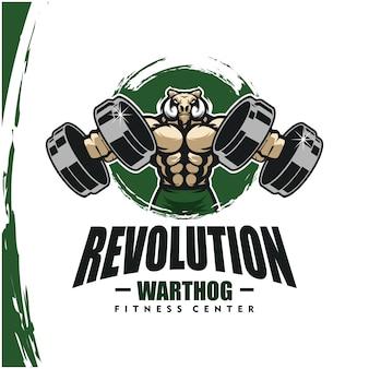 Warthog con cuerpo fuerte, gimnasio o logotipo de gimnasio.