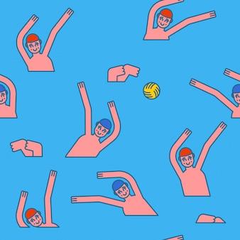 Water polo de patrones sin fisuras. los atletas juegan a la pelota en el agua. antecedentes deportivos. juegos de aguas