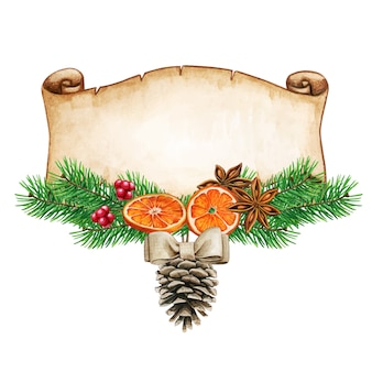 Waterclor elegante rústico navidad invierno saludo