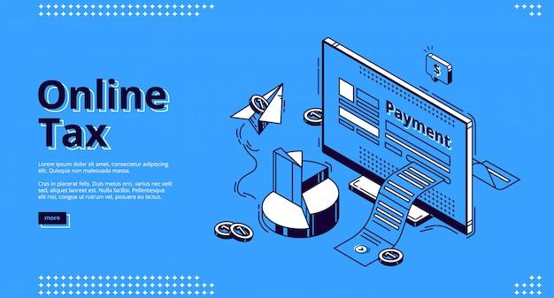 Web de aterrizaje isométrico de impuestos en línea