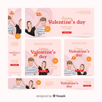 Web banner del día de san valentín con fotografía