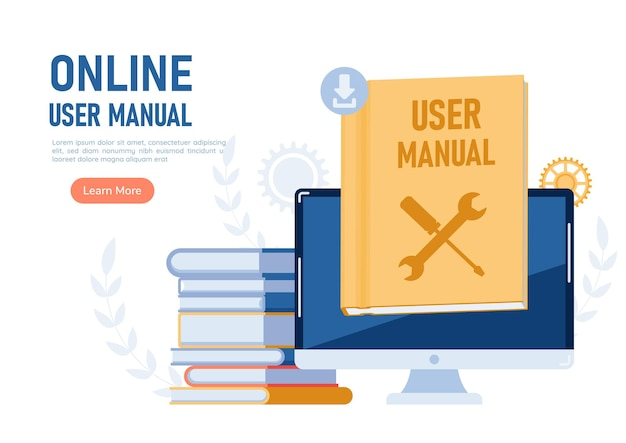 Web banner monitor con libro guía del manual del usuario. concepto de libro de instrucciones o manual de usuario en línea.
