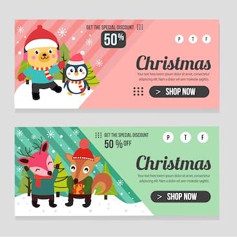Web banner plantilla de navidad con ciervo perro pingüino ardilla