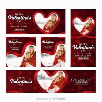 Web banners del día de san valentín con foto
