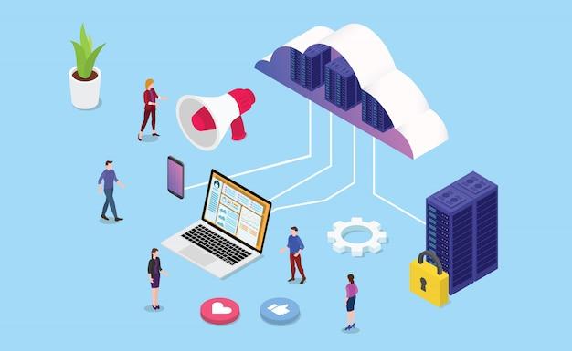 Web isométrica o web hosting de servicios empresariales.