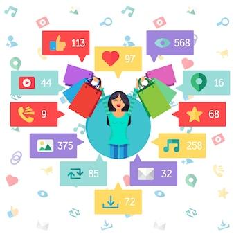 Web life of happy woman de blog y redes sociales, compras en línea y correo electrónico